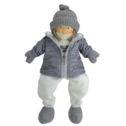 """16"""" Gray and White Cheerful Sitting Girl Christmas Tabletop Decoration - IMAGE 1"""