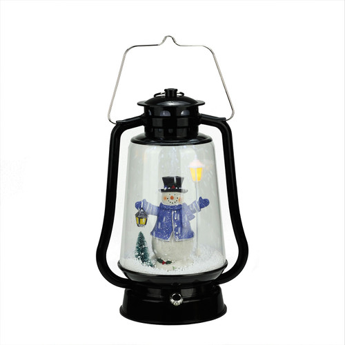 """13.5"""" Black Lighted Musical Snowman Snowing Christmas Table Top Lantern - IMAGE 1"""