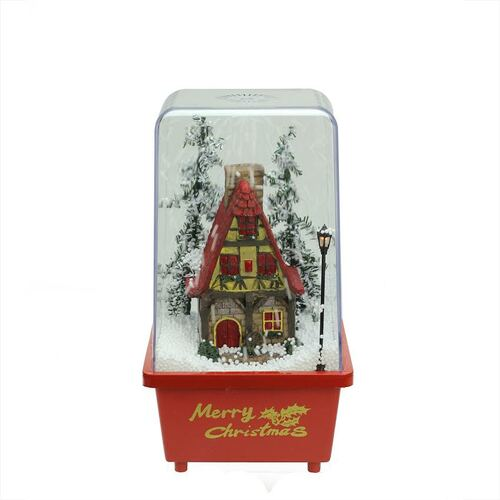 """11.5"""" Lighted Musical Snowing House Christmas Table Top Snow Dome - IMAGE 1"""