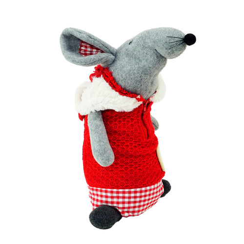 """12"""" Red and Gray Standing Mouse with Hooded Coat Christmas Tabletop Decor - IMAGE 1"""