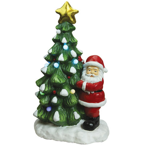 "21.25"" Green and White LED Lighted Musical Santa with Christmas Tree Tabletop Figurine - IMAGE 1"