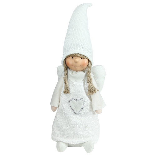 "19.25"" White Snowy Woodlands Girl Angel Christmas Tabletop Figurine - IMAGE 1"