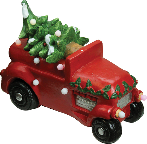 "18"" Red and Green LED Musical Truck with Christmas Tree Tabletop Decor - IMAGE 1"