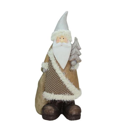 "18.5"" Brown and White Santa Holding Christmas Tree Tabletop Figurine - IMAGE 1"