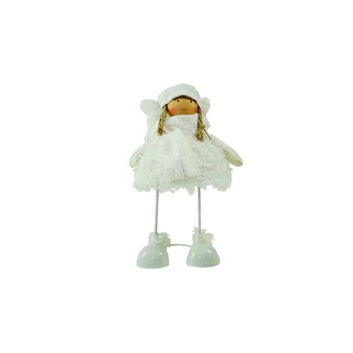 "24"" Snowy Woodlands Plush White Angel Bobble Girl Christmas Figure - IMAGE 1"