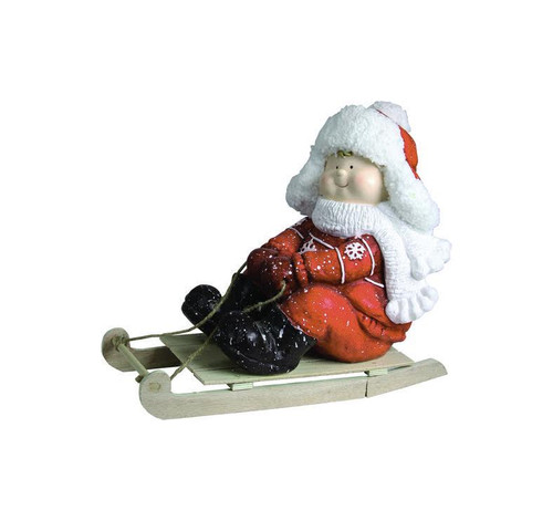 """16"""" Red and White Boy on a Sled Christmas Tabletop Figurine - IMAGE 1"""