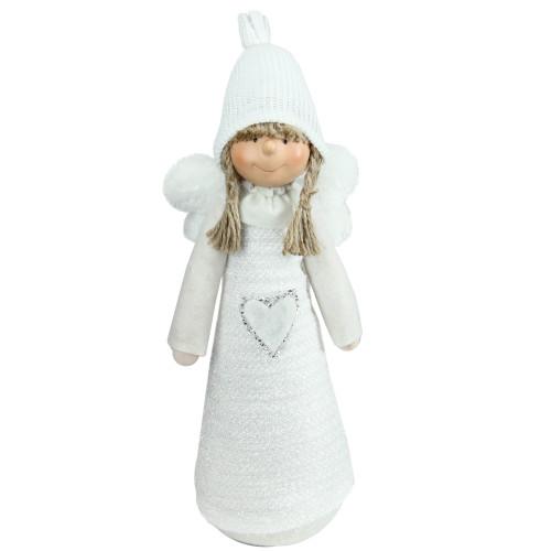 "14.5"" White Snowy Woodlands Girl Angel Christmas Tabletop Figurine - IMAGE 1"