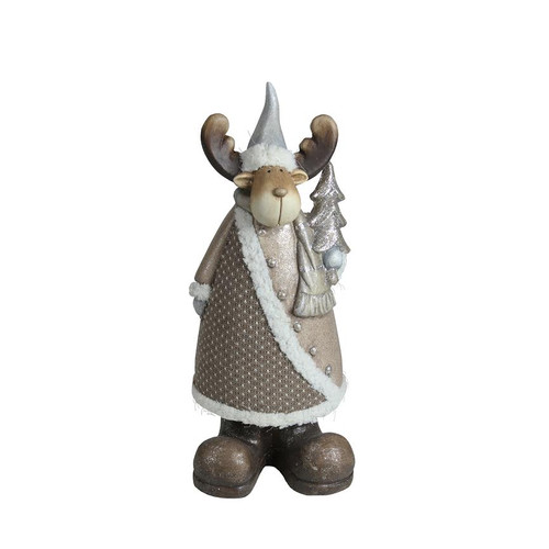 """15.75"""" Brown and White Reindeer with Christmas Tree Tabletop Figurine - IMAGE 1"""