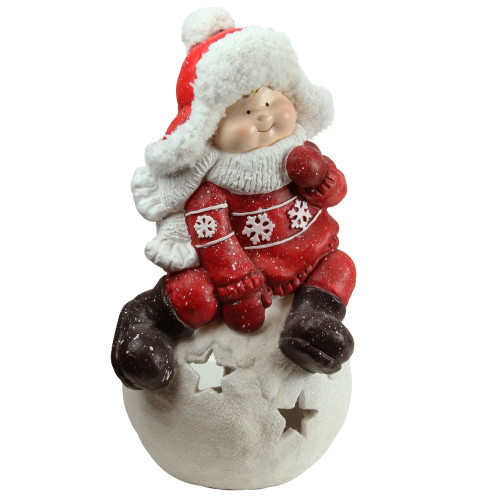"""19.25"""" Red and White Boy on a Snowball Christmas Tealight Candle Holder - IMAGE 1"""