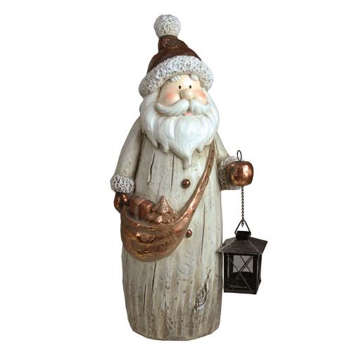 "19.75"" Ivory Santa with Tea Light Candle Lantern and Shoulder Bag Christmas Figurine - IMAGE 1"