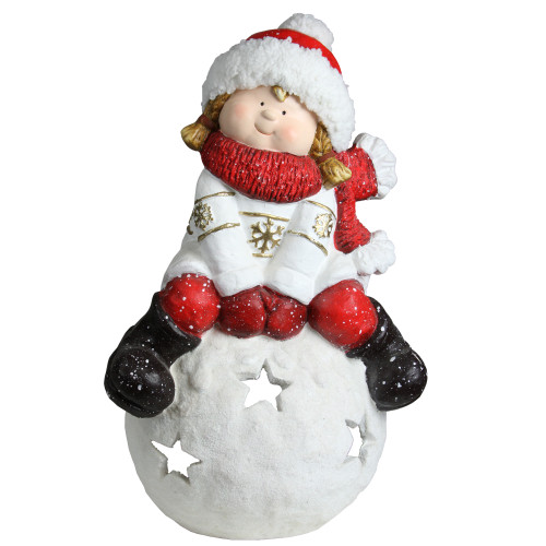 """19.25"""" Red and White Girl on a Snowball Christmas Tealight Candle Holder - IMAGE 1"""