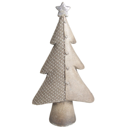 """15"""" Gray and Silver Christmas Tree With Star Tabletop Decor - IMAGE 1"""