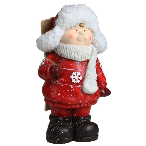 """10.5"""" Red and White Boy with Skis Christmas Tabletop Figurine - IMAGE 1"""