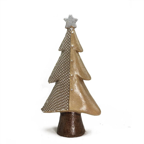 """18"""" Brown and Silver Christmas Tree With a Glitter Star Tabletop Decor - IMAGE 1"""