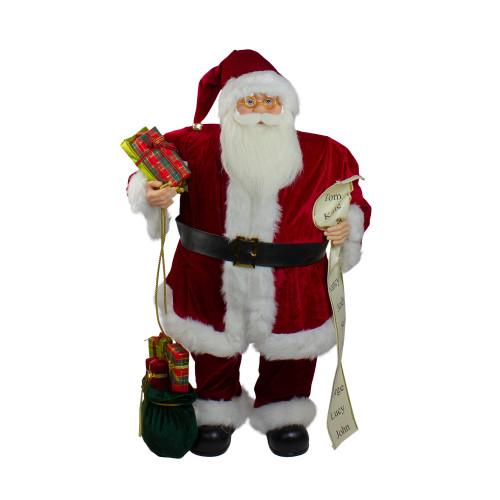 "32"" Red Traditional Santa Claus Christmas Figure with Naughty Nice List and Gift Bag - IMAGE 1"