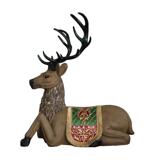 "47"" Brown and Green Commercial Grade Sitting Reindeer Christmas Decoration - IMAGE 1"