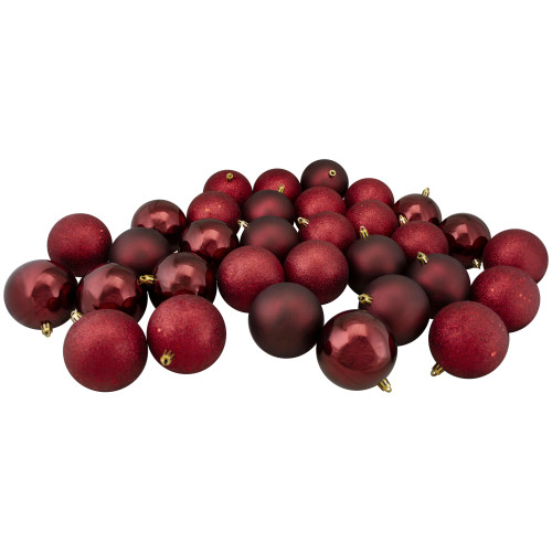 """60ct Burgundy Red Shatterproof 4-Finish Christmas Hanging Ball Ornaments 2.5"""" (60mm) - IMAGE 1"""