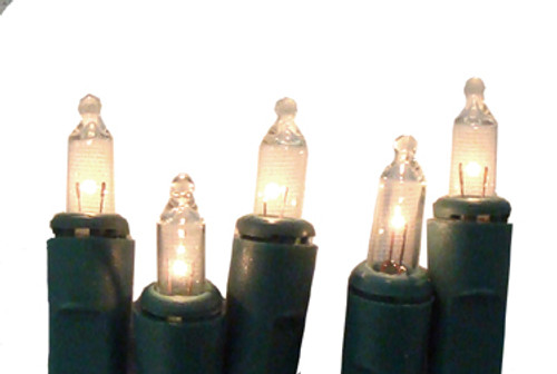 20 Battery Operated Clear LED Mini Christmas Lights - 9.8 ft Green Wire - IMAGE 1