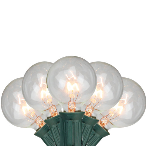 10-Count Clear White G40 Globe Christmas Light Set - 9ft Green Wire - IMAGE 1
