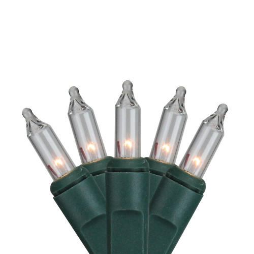 10 Battery Operated Clear Mini Christmas Lights - 4.6 ft Green Wire - IMAGE 1