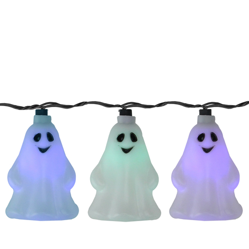 Set of 10 LED Color Changing Ghost Halloween Lights - Black Wire 9' - IMAGE 1