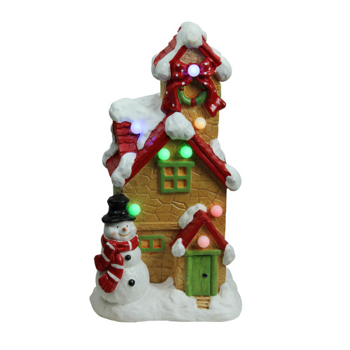 "17"" Brown and Red LED Lighted Snow Covered Cottage Musical Christmas Tabletop Decor - IMAGE 1"