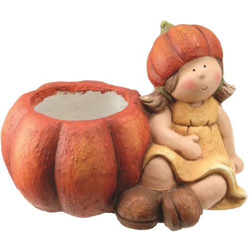 "13.75"" Yellow and Orange Girl with Pumpkin Thanksgiving Tabletop Decor - IMAGE 1"