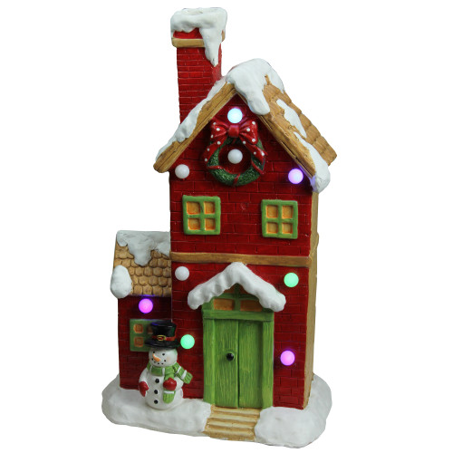 "21"" Red and White Pre-Lit Led Snow Covered House Tabletop Decor - IMAGE 1"