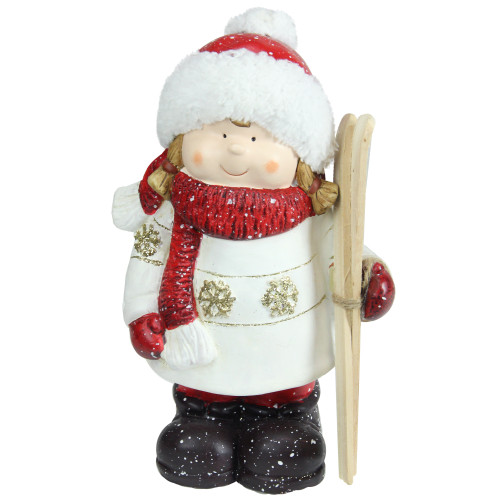 """11"""" Red and White Terracotta Girl with Skis Christmas Tabletop Figurine - IMAGE 1"""