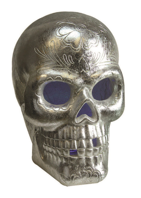 """14"""" Silver LED Lighted Day of the Dead Skull Halloween Tabletop Decor - IMAGE 1"""