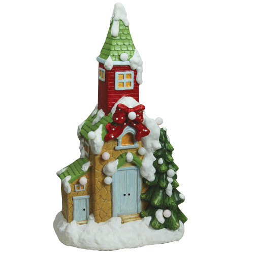 """21.25"""" Green and White Pre-Lit LED Snow Covered Church Christmas Tabletop Figurine - IMAGE 1"""