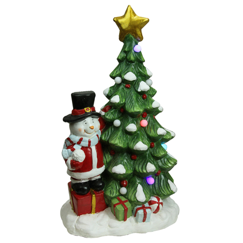"23"" Red and Green Pre-Lit LED Tree with Santa Snowman Musical Christmas Tabletop Decor - IMAGE 1"