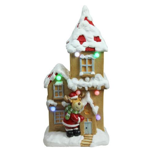 "21.25"" White and Brown Pre-Lit LED House with Reindeer Santa Musical Christmas Tabletop Decor - IMAGE 1"