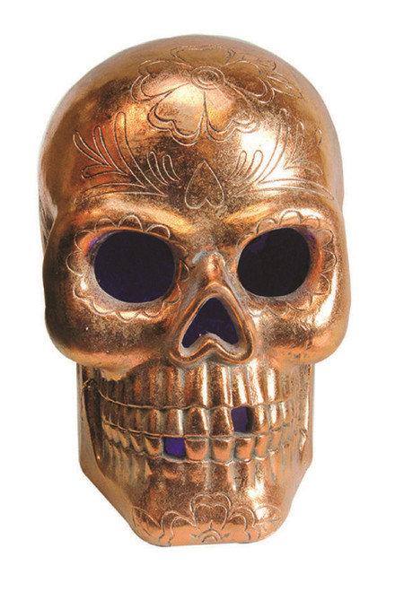 """14"""" Brown LED Lighted Day of the Dead Skull Halloween Tabletop Decor - IMAGE 1"""