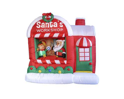 "60"" Inflatable Lighted Santa Claus Workshop Christmas Outdoor Decor - IMAGE 1"