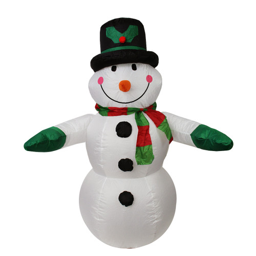 4' Black and White Inflatable Snowman Christmas Outdoor Decor - IMAGE 1