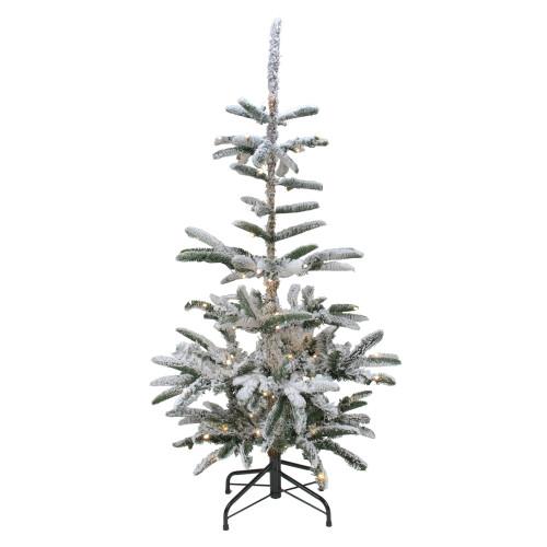 7.5' Pre-Lit Slim Nordmann Fir Flocked Artificial Christmas Tree - Warm Clear LED Lights - IMAGE 1