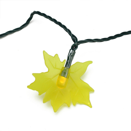 10 Yellow Maple Leaf Autumn Fall LED Novelty Thanksgiving Lights - 3.8 ft Green Wire - IMAGE 1