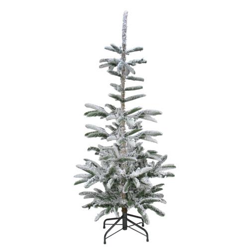 6.5' Green Slim Flocked Noble Fir Artificial Christmas Tree - Unlit - IMAGE 1