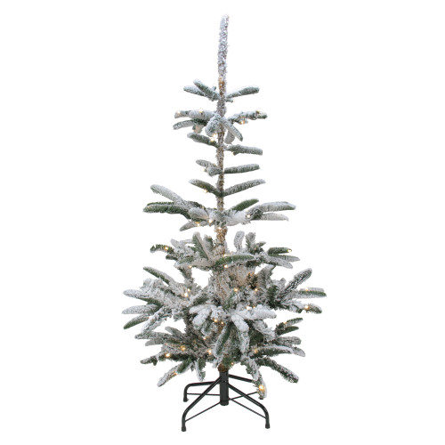 4.5' Pre-Lit Noble Fir Artificial Flocked Christmas Tree - Warm Clear LED Lights - IMAGE 1
