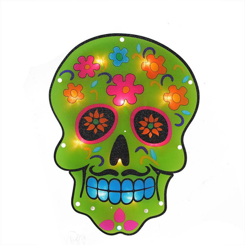 """14"""" Green and Pink Lighted Halloween Day of the Dead Skull Window Silhouette Decoration - IMAGE 1"""