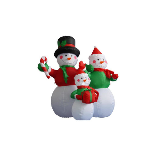 4' Red and White Inflatable Lighted Snowman Family Christmas Outdoor Decor - IMAGE 1