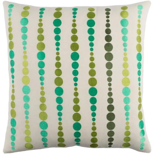 "20"" Green Contemporary Throw Pillow - Down Filler - IMAGE 1"