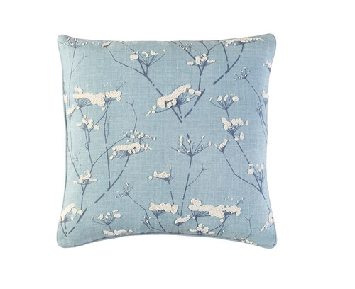 """18"""" Blue and White Woven Contemporary Throw Pillow - IMAGE 1"""