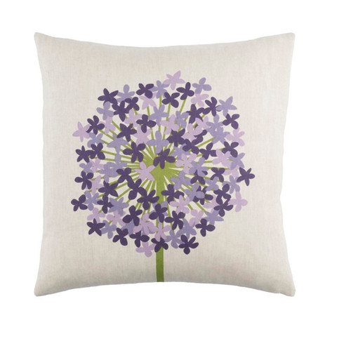 """22"""" Purple and White Printed Square Throw Pillow - IMAGE 1"""