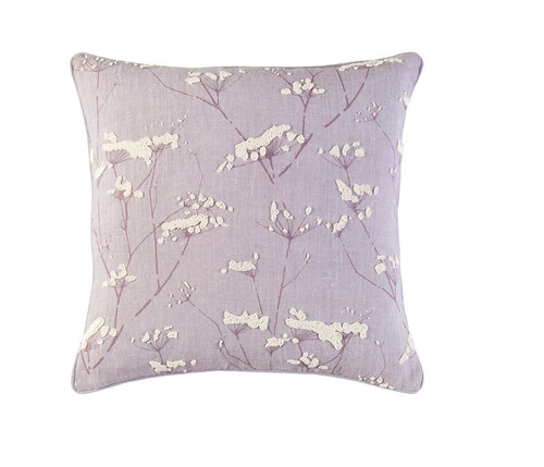 """22"""" Lilac Purple and White Square Woven Throw Pillow - Down Filler - IMAGE 1"""
