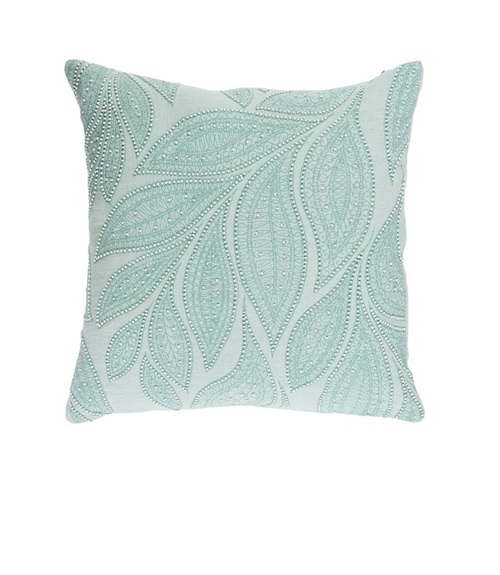 """22"""" Green and White Beaded Square Throw Pillow - Down Filler - IMAGE 1"""