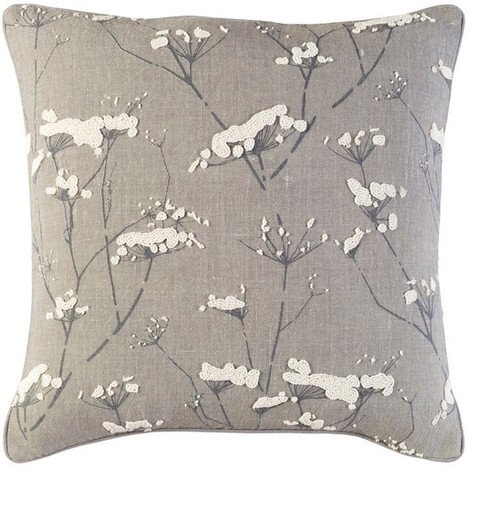"""18"""" Gray and White Woven Throw Pillow  - Down Filler - IMAGE 1"""