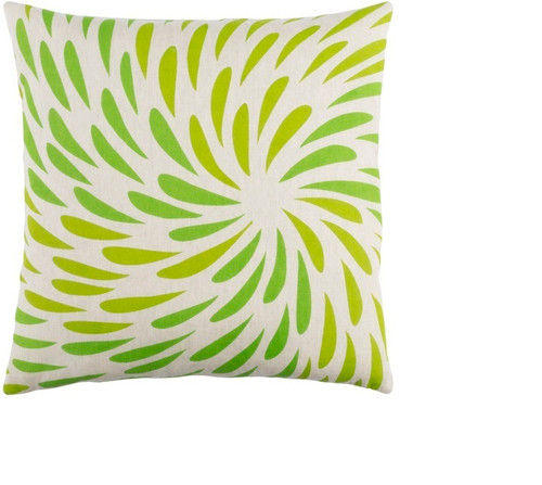 """20"""" Green and White Decorative Square Throw Pillow - Down Filler - IMAGE 1"""
