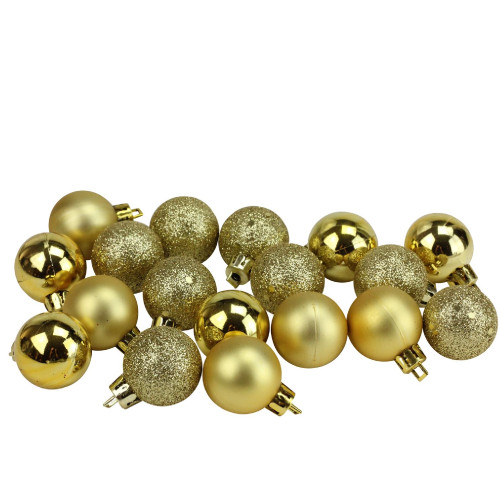 "18ct Vegas Gold Shatterproof 4-Finish Christmas Ball Ornaments 1.25"" (30mm) - IMAGE 1"